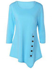 Buttoned Three Quarter Sleeve Blouse - Light Blue Xl