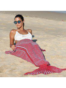 عالية الجودة الحياكة حورية البحر الذيل نمط لينة بطانية - أحمر