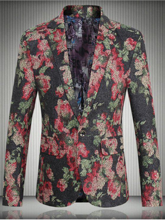 shop Floral Flap Pocket One-Button Lapel Long Sleeve Blazer For Men - RED 5XL