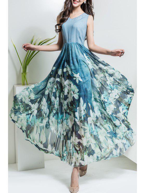 2019 Floral V Neck Maxi Chiffon Flowy Dress In LIGHT BLUE S  bd504def0246