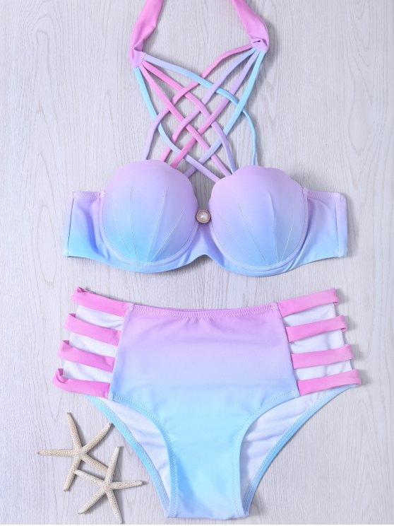 womens Lace-Up Hollow Out Gradient Bikini Set - COLORMIX S