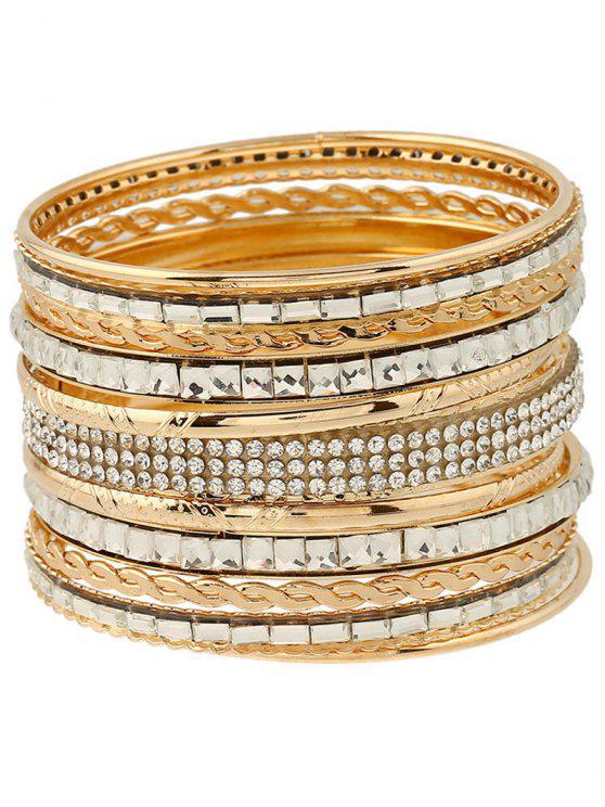 Bracelet gravé embelli de strass bijou faux - Or