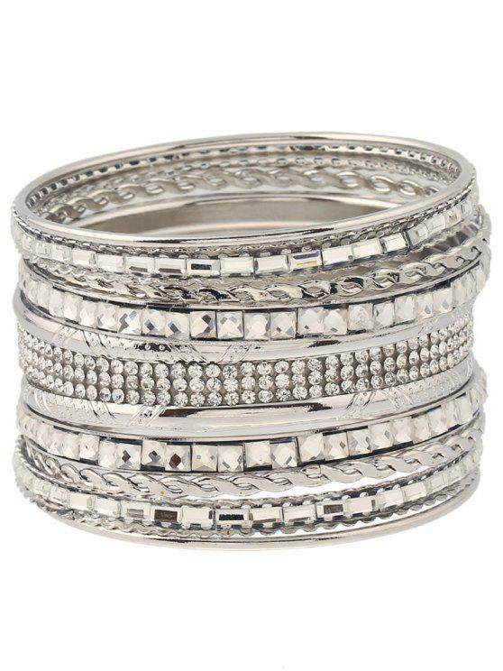 Bracelet gravé embelli de strass bijou faux - Argent