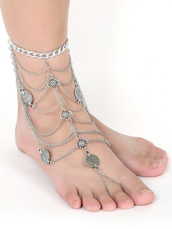 best Coin Layered Fringed Anklet - SILVER