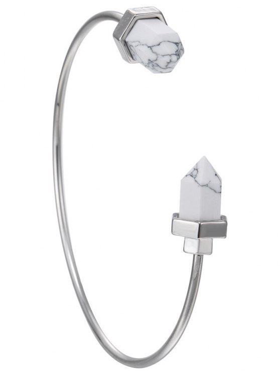 buy Faux Rammel Geometric Bracelet - SILVER AND WHITE