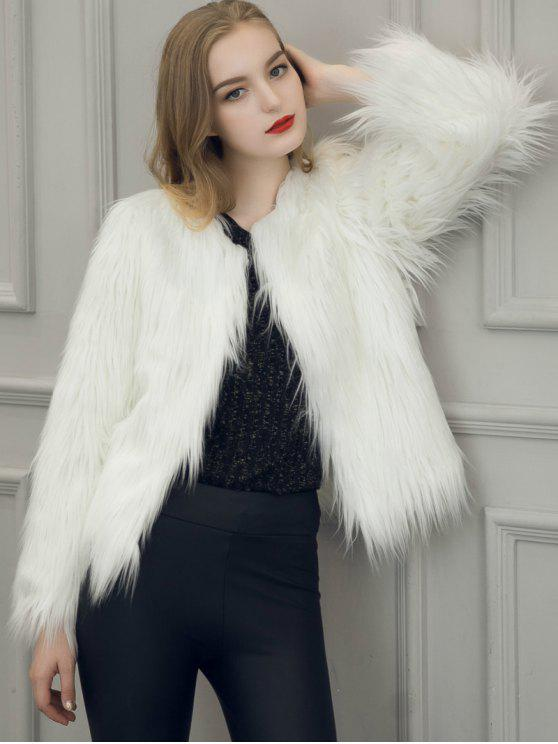 Fluffy Faux Fur Coat WHITE: Jackets & Coats L | ZAFUL