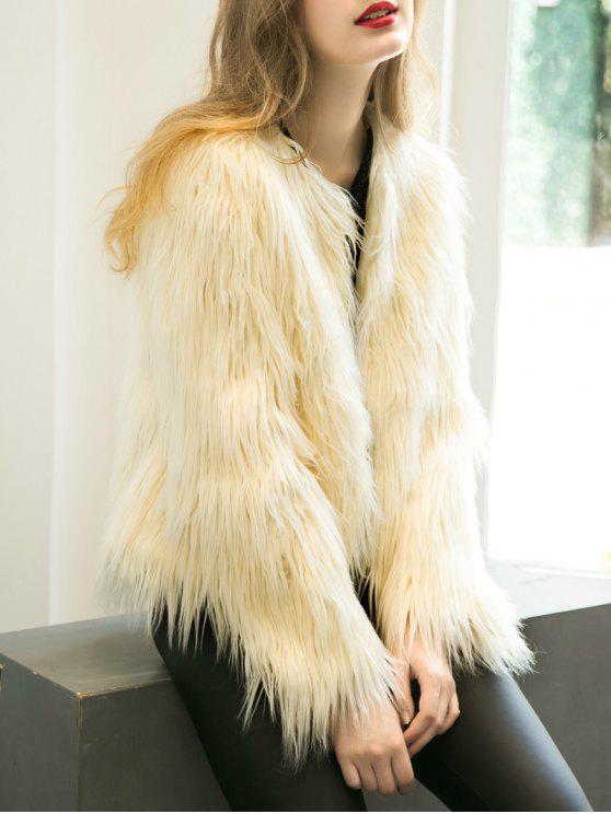 lady Fluffy Faux Fur Coat - BEIGE M