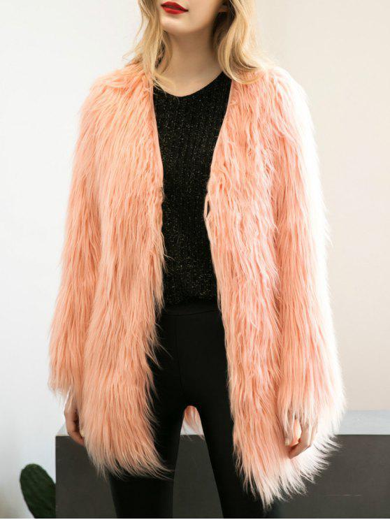 fancy Open Front Fluffy Faux Fur Coat - PEACH PINK S