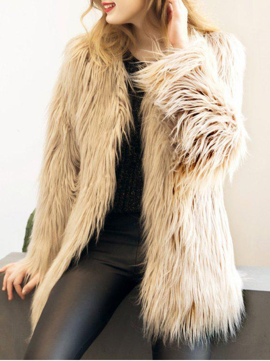ladies Open Front Fluffy Faux Fur Coat - LIGHT KHAKI L