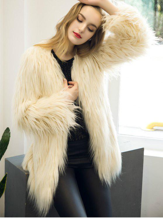 outfits Open Front Fluffy Faux Fur Coat - BEIGE M