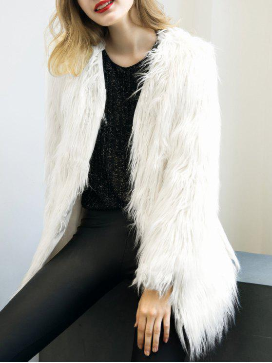 fancy Open Front Fluffy Faux Fur Coat - WHITE S
