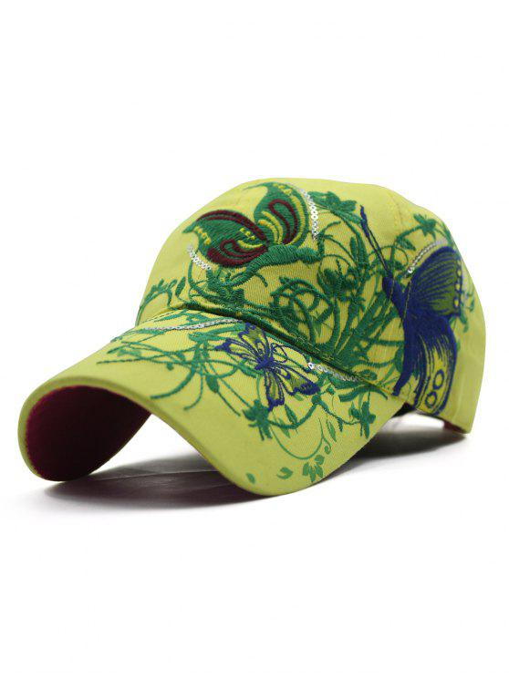 outfits Rattan Butterfly Embroidery Baseball Hat - YELLOW