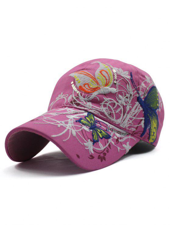 Rattan papillon broderie Casquette de baseball - Rose de Pêches