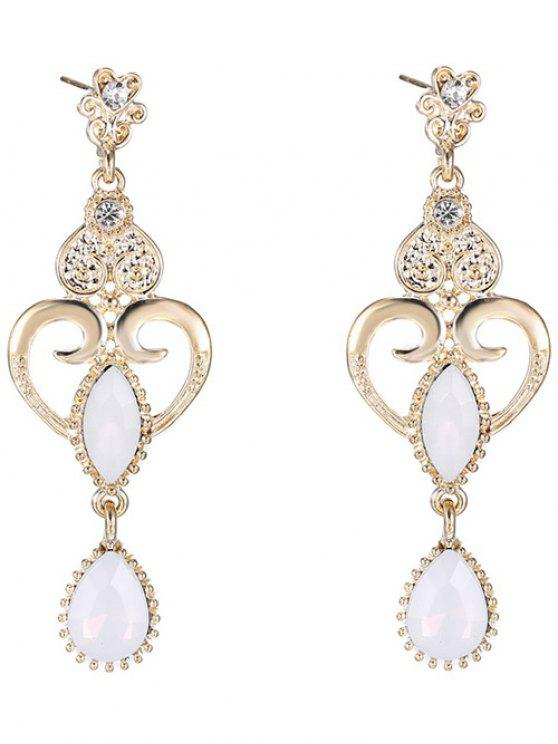 Boucles d'oreilles embellies cœur goutte d'eau en opale fausse - Blanc