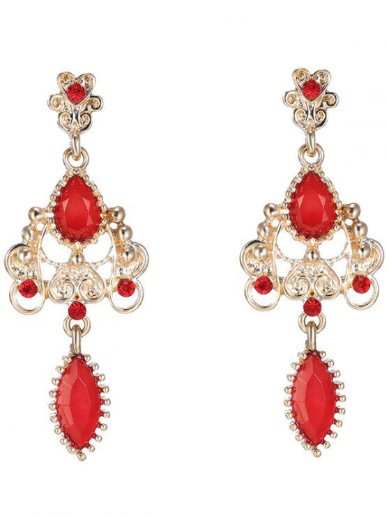 chic Fake Ruby Water Drop Earrings - RED