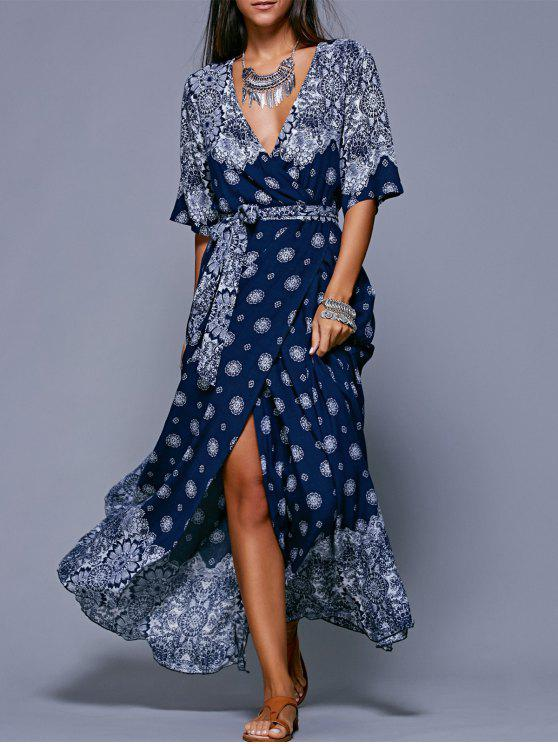 outfits Printed Belted Maxi Dress - PURPLISH BLUE ONE SIZE(FIT SIZE XS TO M)