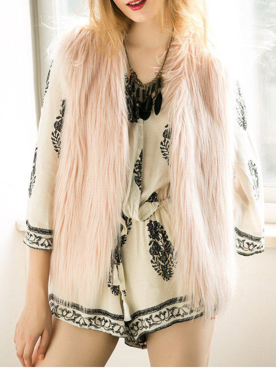 best Thicken Solid Color Faux Fur Waistcoat - NUDE PINK XL