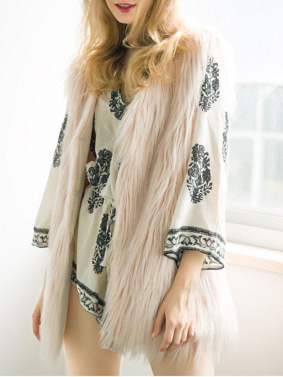 hot Thicken Solid Color Long Faux Fur Waistcoat - NUDE PINK S