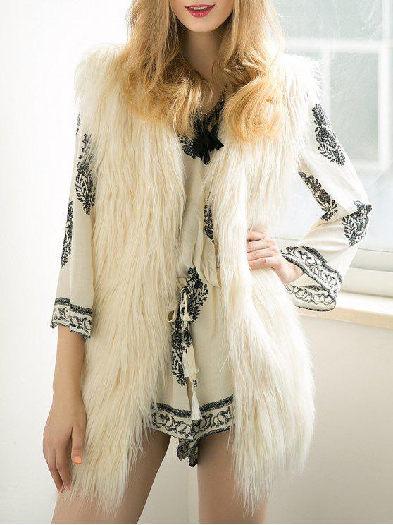 Espesar color sólido a largo chaleco de piel sintética de - Blancuzco S