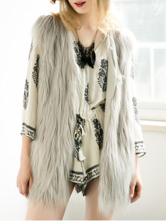 women Thicken Solid Color Long Faux Fur Waistcoat - GRAY L