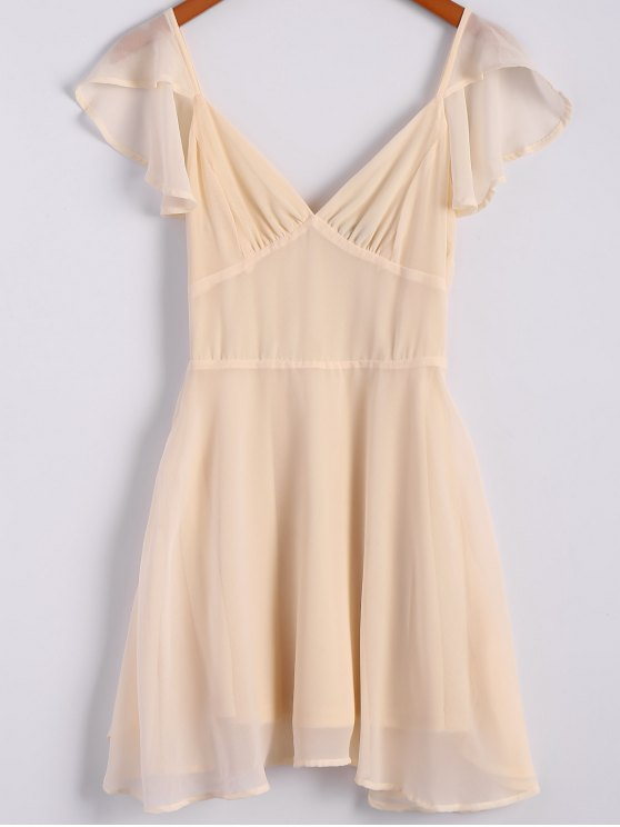chic Solid Color Flounce Short Sleeve Chiffon Dress - APRICOT 2XL