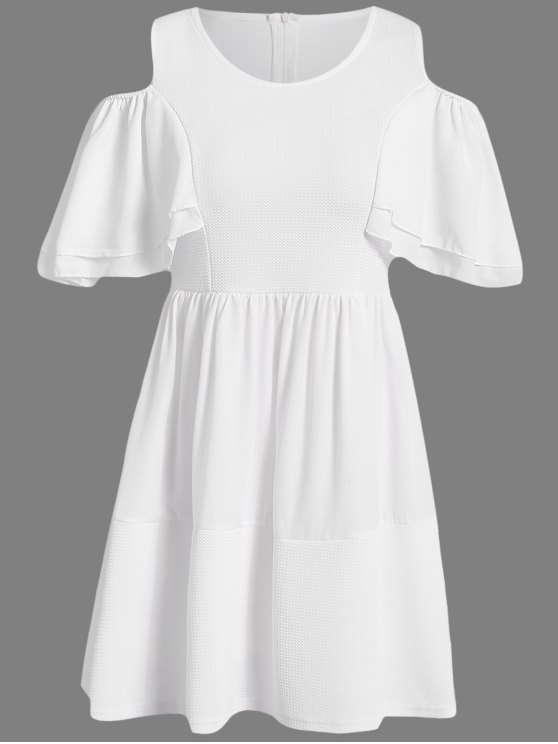 outfit Off-The-Shoulder Solid Color Short Sleeve Dress - WHITE S
