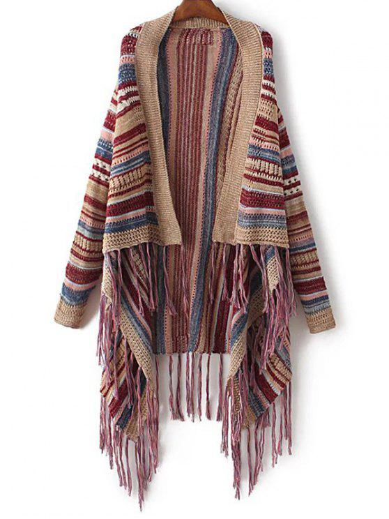 fancy Striped Tassels Spliced Asymmetric Cardigan - BROWN ONE SIZE