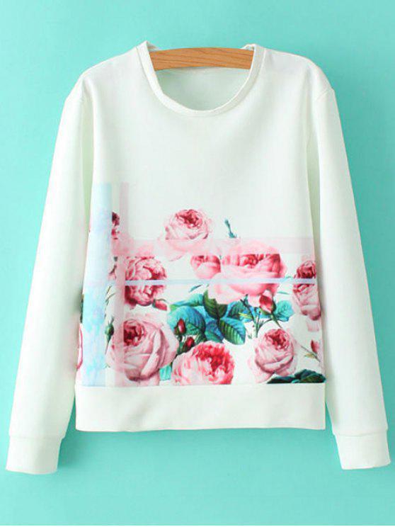 Round Neck Sweatshirt Floral - Blanc S