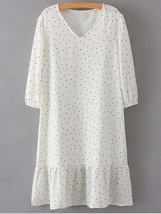 Polka Dot V Neck 3/4 Sleeve Dress - Blanc L