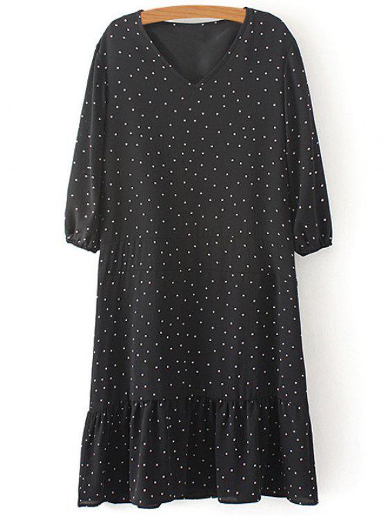 latest Polka Dot V Neck 3/4 Sleeve Dress - BLACK S
