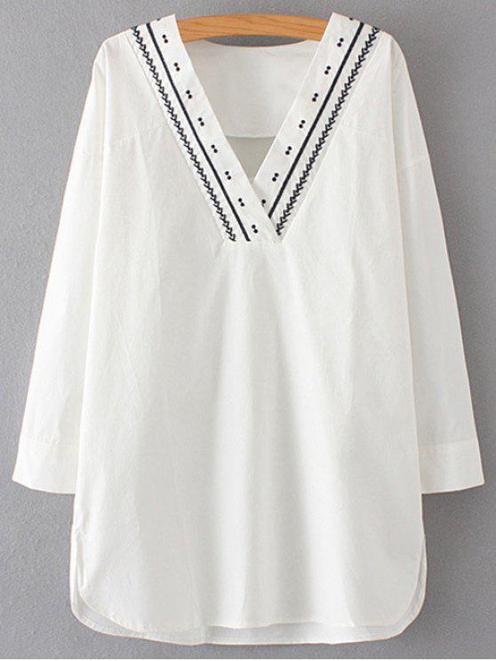 trendy Long Sleeve V Neck Straight Dress - WHITE L