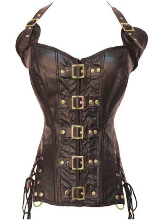 trendy Gothic Lace Up Halter Latex Corset - COFFEE XL