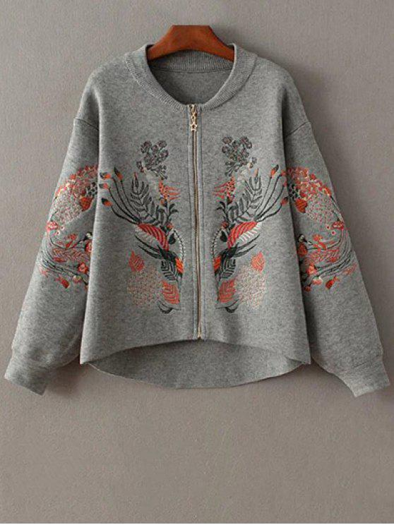 affordable Embroidered Zipped Cardigan - GRAY ONE SIZE