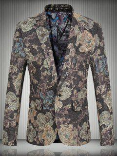 Floral One-Button Flap Pocket Lapel Long Sleeve Blazer For Men - Coffee 2xl