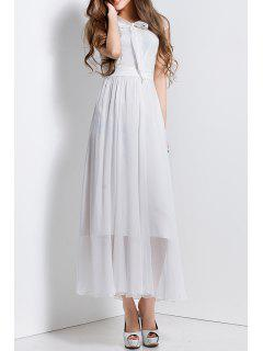 Bowknot Collar Solid Color Maxi Dress - White S