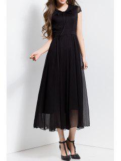 Bowknot Collar Solid Color Maxi Dress - Black S