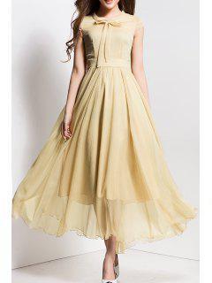 Bowknot Collar Solid Color Maxi Dress - Apricot S