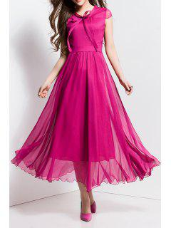 Bowknot Collar Solid Color Maxi Dress - Rose Red S