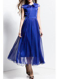 Bowknot Collar Solid Color Maxi Dress - Sapphire Blue S