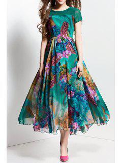 Floal Print Maxi Dress - Blackish Green S