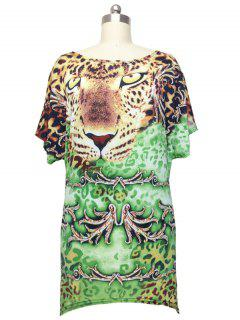 Leopard Printed Cap Sleeve Blouse - Green