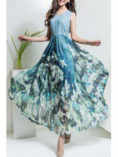 Floral V Neck Maxi Chiffon Flowy Dress - Light Blue 2xl