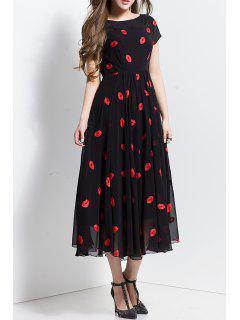 Lips Print Lace Spliced Dress - Black S