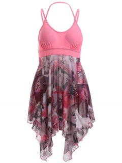 Halter Spaghetti Strap Beauty Print Handkerchief One-Piece Swimsuit - Pink S