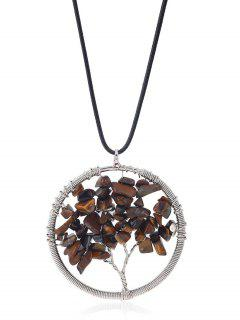 Circle Tree Of Life Necklace - Coffee