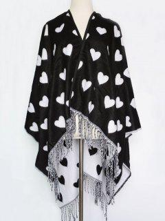 Sweet Heart Tassel Pashmina - Black