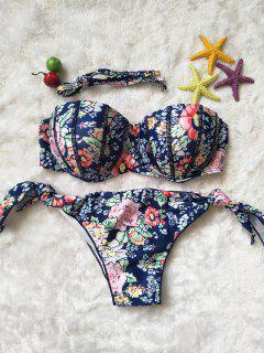 Voll Mit Blumenmuster Strapless Bikini Set - L