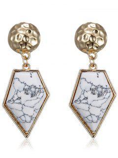 Faux Rammel Polygon Earrings - White