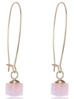 Faux Gem Square Earrings - Pink