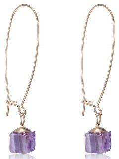 Faux Gem Square Earrings - Purple